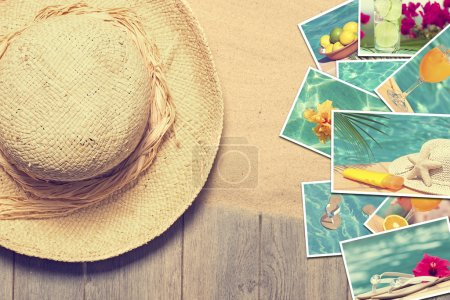 Photo for Straw sunhat with postcards of summer vacation - Royalty Free Image