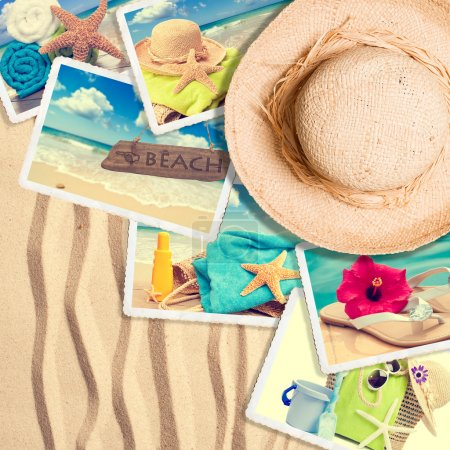 Photo for Postcards in the sand with summer straw hat - Royalty Free Image