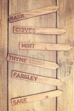 Wooden herb labels ready for spring planing...