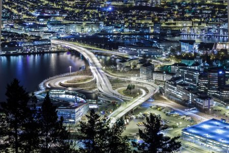 Car isolated at night. Bergen, Norway
