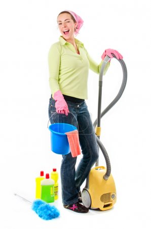 Photo for Smiling cleaning lady or housewife with cleaning equipment - Royalty Free Image