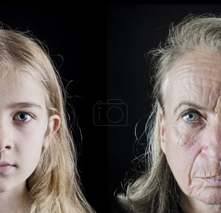Photo for Grandmother and granddaughter closeup faces looking in the camera - Royalty Free Image