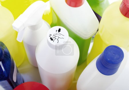 Photo for Safety cap icon on cleaning bottle - Royalty Free Image