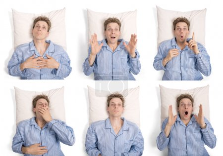 Man in pajamas in bed with different expressions
