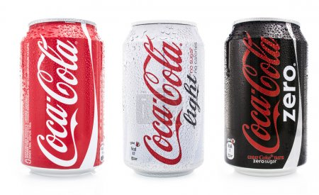 Photo for Set of coca cola isolated cans. Coca cola light, zero and normal. - Royalty Free Image