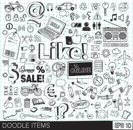 Doodle icons vector image eps 10. Set of hand draw...