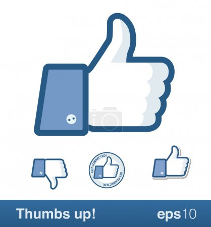 Illustration for Social media thumbs up and down. This is NOT the original Facebook thumb! I did not use the original and changed it on many points. Angle of the sleeve is the other way around, the button is different, corner of the fingers and thumb different etc. - Royalty Free Image