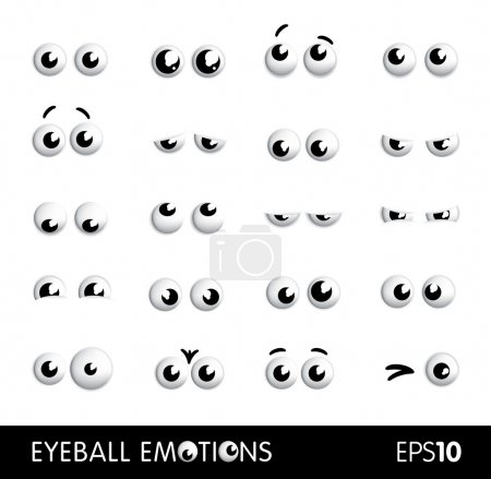 Illustration for Set of vector funny cartoon eyes or eyeballs different emotions - Royalty Free Image