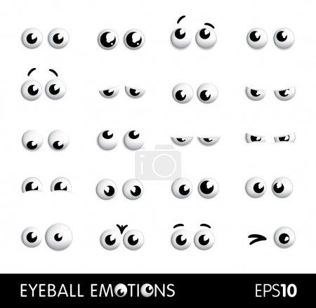 Illustration pour Ensemble de vecteur drôle yeux de dessin animé ou globes oculaires différentes émotions - image libre de droit