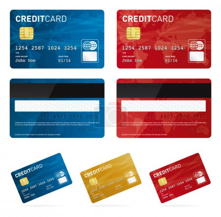 Illustration for Credit card vector images or eps files. Own design. Red, gold, blue - Royalty Free Image