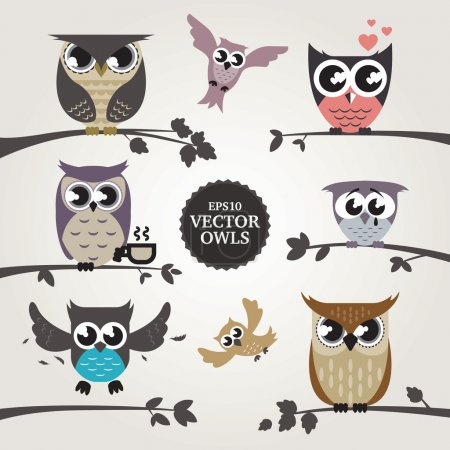Illustration for Vector owl images. Eps cartoon owls showing different emotions. - Royalty Free Image