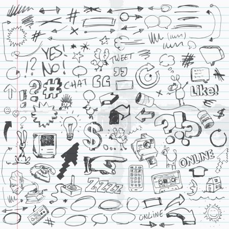 Illustration for Set of vector illustrated doodles on school paper sheet. - Royalty Free Image