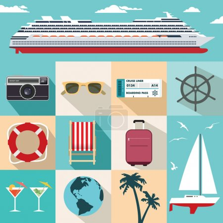 Illustration for Flat vector cruise ship vacation illustrations - Royalty Free Image