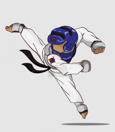 Illustration pour Du taekwondo. Art martial - image libre de droit