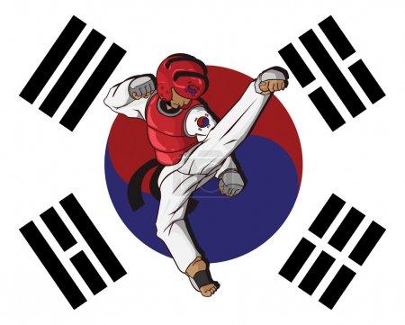 Illustration pour Taekwondo art martial - image libre de droit