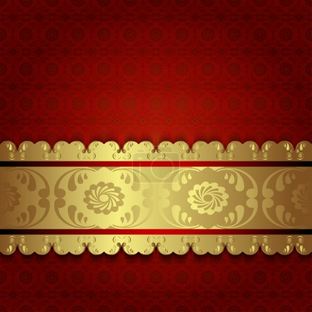 Gold on red.