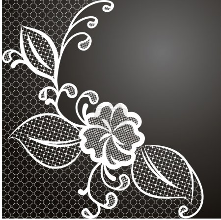 White lace corner against a dark background with s...