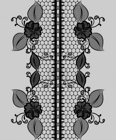 Abstract seamless black lace ribbon with floral pattern.