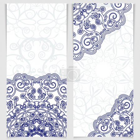 Illustration for Set of greeting cards or invitations in the style of imitation Chinese porcelain painting. Blue victorian floral decor. Template frame for the banner or background. Place for your text. Vector illustration. - Royalty Free Image