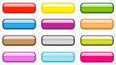 Twelve square colored aqua buttons on a white background