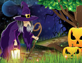 Wicked witch with a lantern walking along a forest path and the two smiling pumpkin head