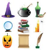 Halloween set of witchcraft tools Nine magic icons on white background