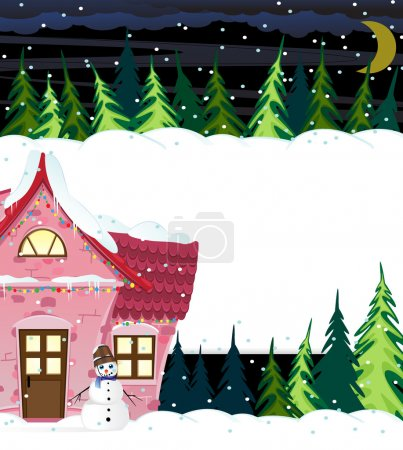 Winter house and smiling snowman