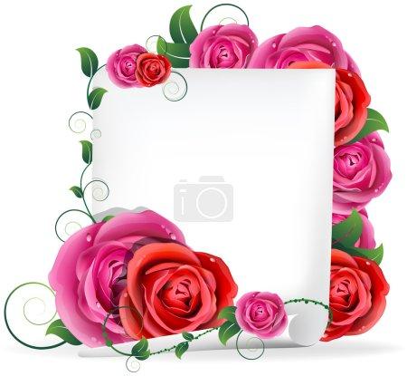 Illustration pour Bouquet de roses rouges et roses et papier blanc - image libre de droit