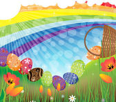 Bright Easter eggs rolled out of the overturned basket Rainbow Easter landscape