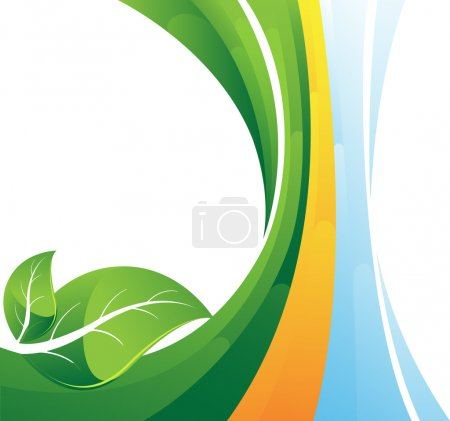 Illustration for Two green leaves on abstract striped background. Conceptual background. - Royalty Free Image