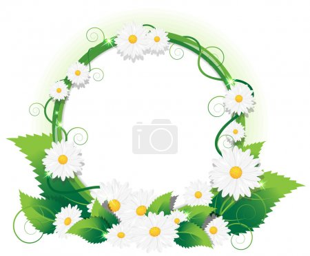 Illustration for Round frame of wild flowers with space for text - Royalty Free Image