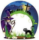 čarodějnice a kočka na hřbitov