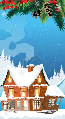 Illustration for Brick cottage with a smoking chimney among pine wood and mountains. Idyllic winter scene. - Royalty Free Image