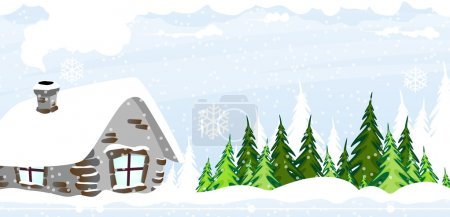 Snow covered hut