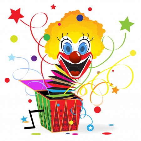 Illustration for Red-haired clown with blue eyes jumps out from a box - Royalty Free Image