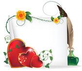 Valentine srdce, květiny a svitek papíru