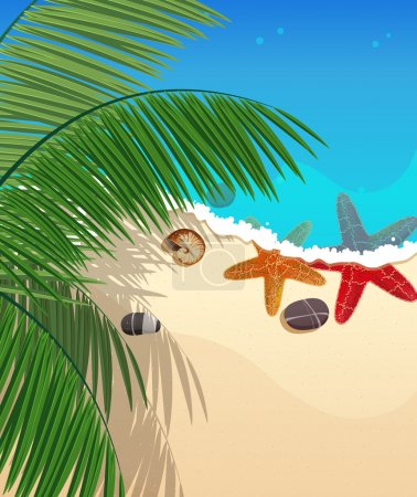 Illustration for Sandy coast and foaming waves with palm branches, starfishes and cockleshell - Royalty Free Image