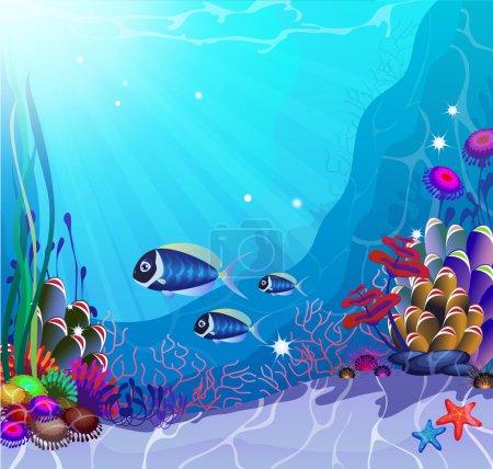 Photo pour Paysage sous-marin avec des plantes et des animaux exotiques - image libre de droit
