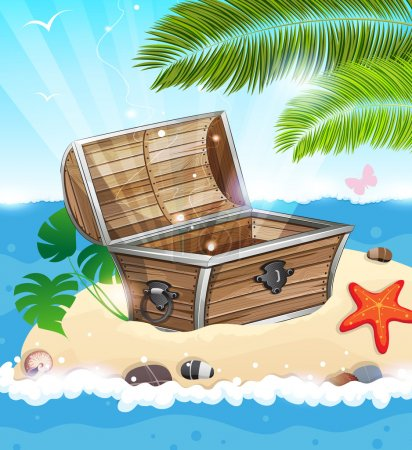 Illustration for Treasure Chest on sandy island with palm tree in the middle of the ocean - Royalty Free Image