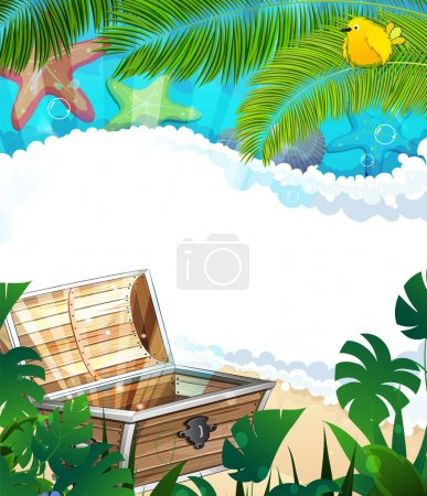 Illustration for Treasure Chest on a sandy beach with lush tropical vegetation and animals - Royalty Free Image