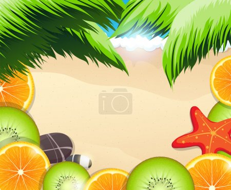 Illustration for Orange and kiwi slices on a background of the sea coast with starfish and pebbles - Royalty Free Image