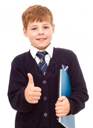 Photo for Happy smiling school boy gesturing thumb up hand sign OK. Isolated on white background. - Royalty Free Image
