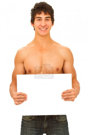 Smiling young man with tanned muscular naked torso.