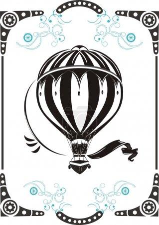 Illustration pour Steampunk style cadre et vintage montgolfière - image libre de droit