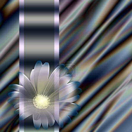 Photo pour Fond vagues abstraites illustration de plis ondulés de soie texture satin, élément avec des fleurs - image libre de droit