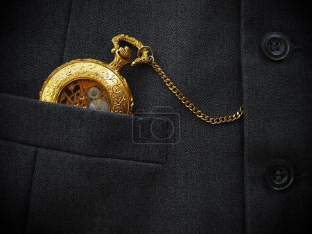 Golden Pocket Watch with Black Men's Waistcoat