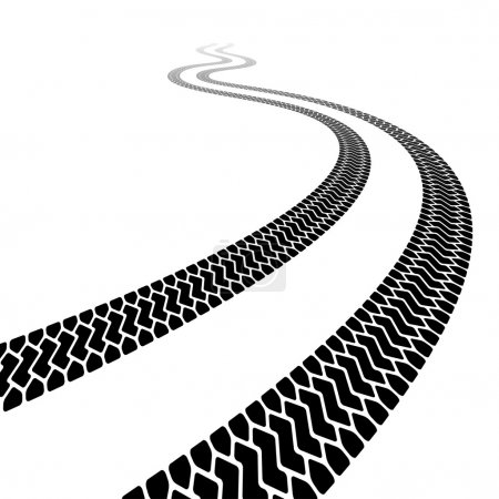 Winding trace of the terrain tyres
