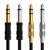 Audio jack connector silver gold - illustration for the web
