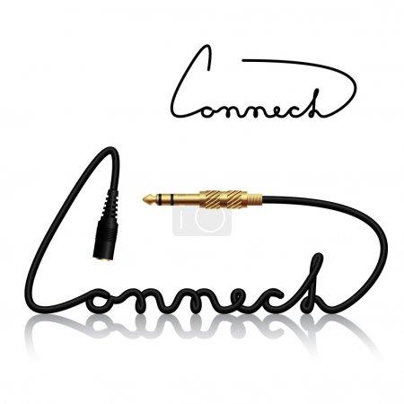 Illustration pour Connecteurs jack connectent la calligraphie illustration pour le web - image libre de droit