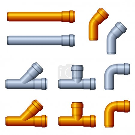 Photo for PVC sewer pipes orange gray - illustration for the web - Royalty Free Image
